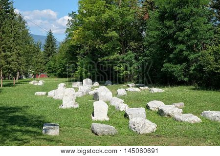 Perucac medieval necropolis in Tara National Park, Serbia