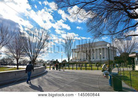 Washington DC - December 19, 2015: Street life near Lincoln Memorial.