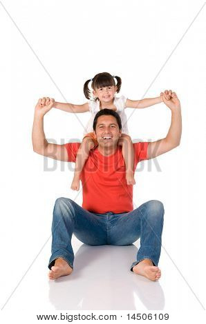 Smiling father carrying on his shoulders his little daughter isolated on white background