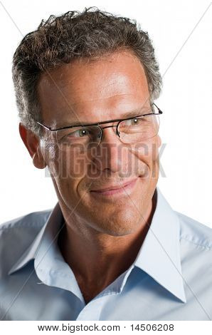 Smiling pensive mature man with glasses isolated on white background
