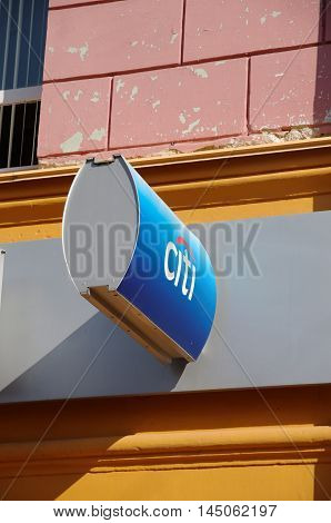 Nizhny Novgorod, Russia - August 18, 2016: A sign with logo of Citibank located in Nizhny Novgorod at a branch outlet of the bank. Citibank is the consumer banking division of financial services multinational Citigroup.