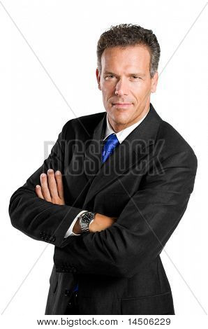 Reifen Kaufmann Blick in die Kamera mit Zuversicht, isolated on white background