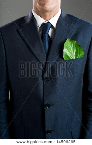 Stylish businessman with a fresh green leaf in his pocket. Green business concept, take care of the environment!