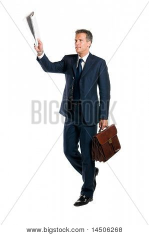Mature businessman call the attention with the morning news raised isolated on white background
