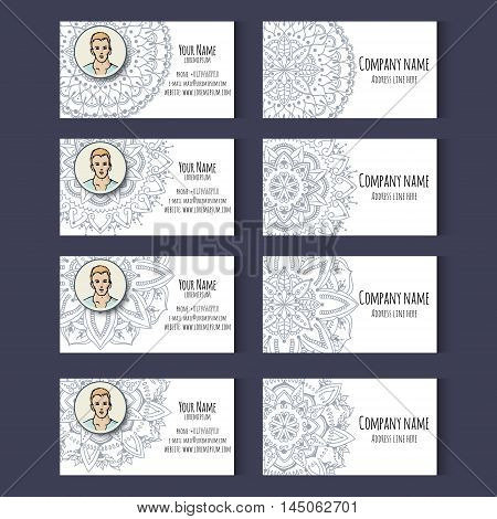 Set of templates for cd discs envelopes notebooks credit card business card and invitation card with floral ornament. Corporate style. Vector illustration.