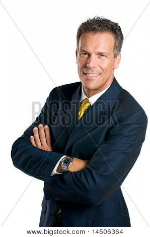 Senior businessman looking at camera with a bright smile, isolated on white background
