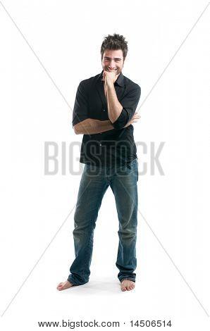 stilvolle Latin Jüngling lächelnd und Blick in die Kamera isolated on white background