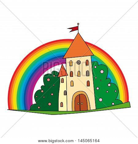fairytale castle with fruit trees and a rainbow.. vector illustration isolated on white background.