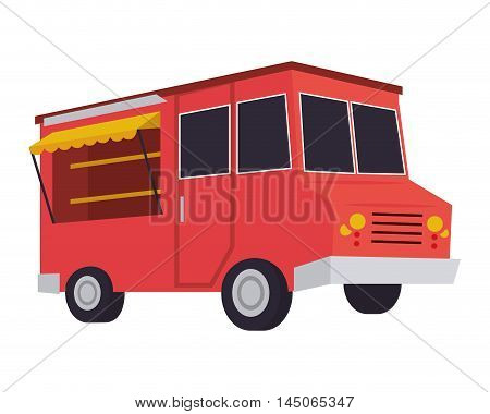 truck delivery fast food urban business icon. Flat and isolated design. Vector illustration