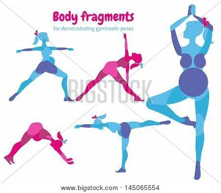 Gymnastic poses for pregnant women. Future mother healthy lifestyle exercises set motherhood and fitness. Pilates poses