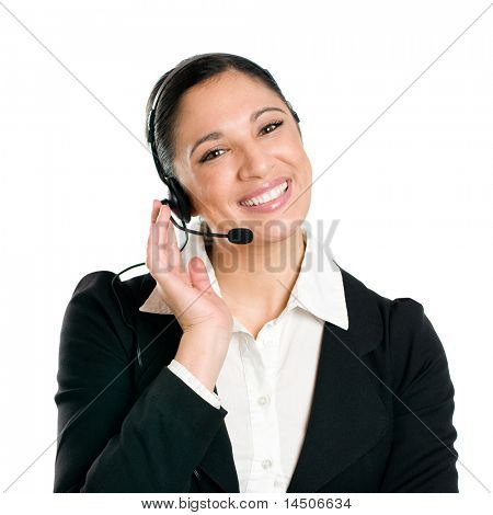 Young confident business woman operator with headset isolated on white background