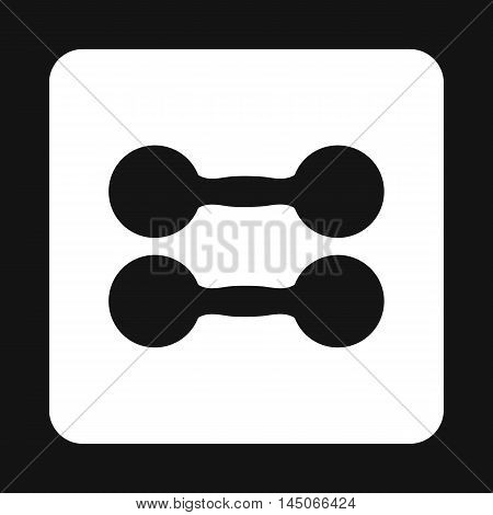 Pair of dumbbells icon in simple style on a white background
