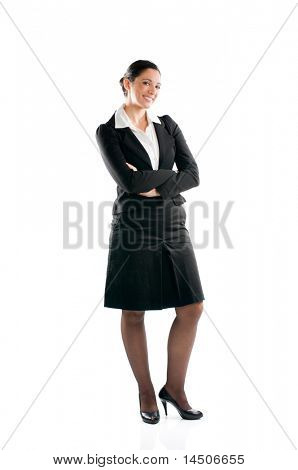 Full length young business woman standing isolated on white background