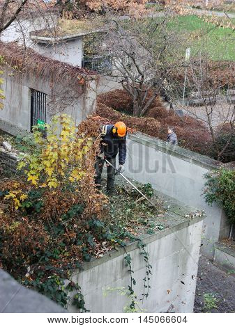 Luzern, Switzerland - November 29 2016. Autumn impose order on the street, and mowing the lawn