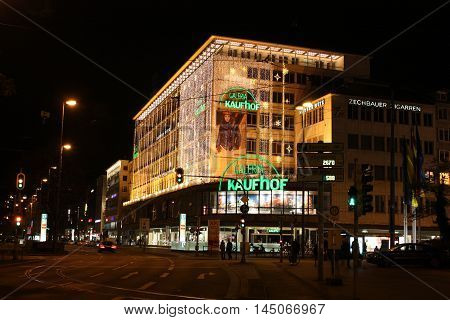 Munich, Germany - November 29 2011. Beautiful architecture of the city at night lights