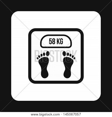 Black floor scales icon in simple style on a white background