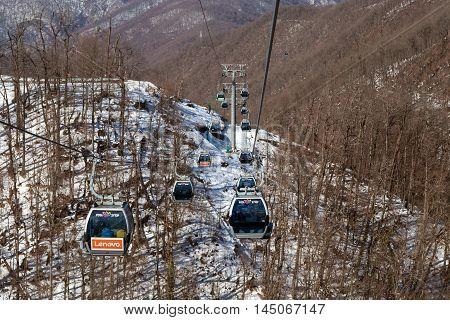 Sochi, Russia - February 10, 2016: Ski lift in Rosa Khutor Alpine Resort