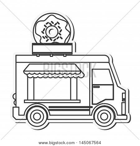 donut truck delivery fast food urban business icon. Flat and isolated design. Vector illustration