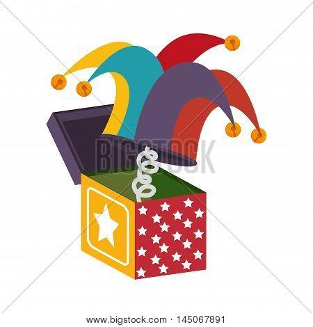 box hat toy jump surprise stars colorful cartoon vector illustration