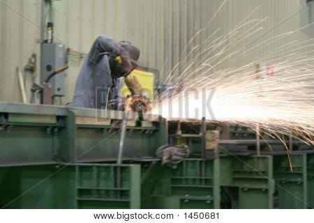 Cutting steel and making sparks on