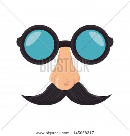 funny disguise mask glasses nose mustache party cartoon element vector illustration