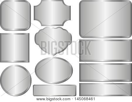 set of isolated steel plaques - vector illustration