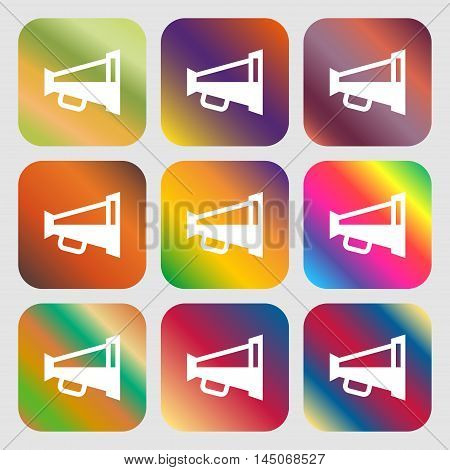 Megaphone Soon, Loudspeaker Icon. Nine Buttons With Bright Gradients For Beautiful Design. Vector