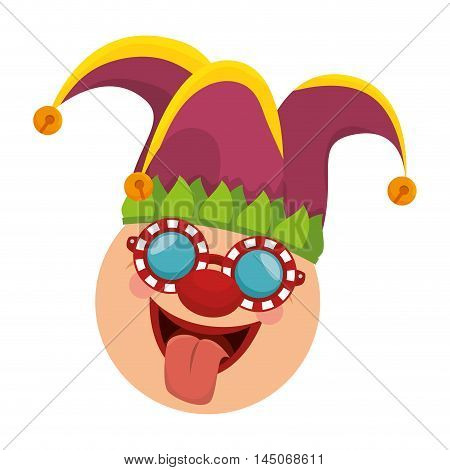 joker clown funny face mask sticking tongue carnival costume cartoon vector illustration