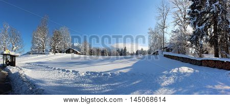 Alps. Oderstdorf Winter Fresh Froze Mountain Landscape Panorama