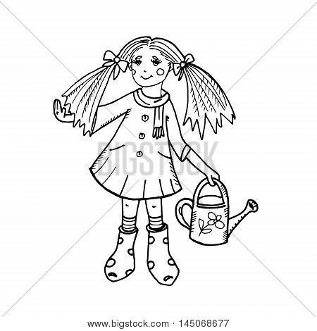 Girl with garden watering can in coat, scarf, with pigtails. Hand drawn illustration, vector. For prints, designs, coloring book pages.