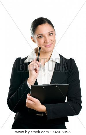 Latin business woman holding pen and clipboard with thinking expression isolated on white background