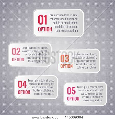 Vector infographics white rectangles 1 to 5 options on dotted background