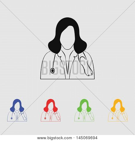 Doctor with stethoscope  Vector Icon for web and mobile