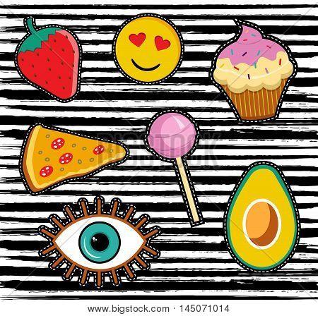Set Of Cute Cartoon Patch Or Sticker Designs