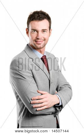 Portrait of happy stylish businessman smiling at camera isolated on white background