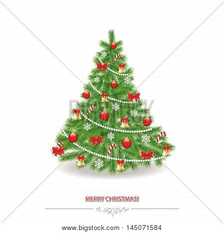 Traditionally decorated realistic christmas tree. Isolated on white.