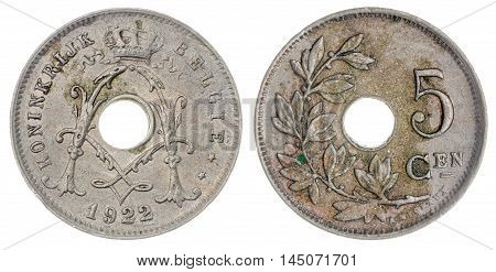 5 Centimes 1922 Coin Isolated On White Background, Belgium