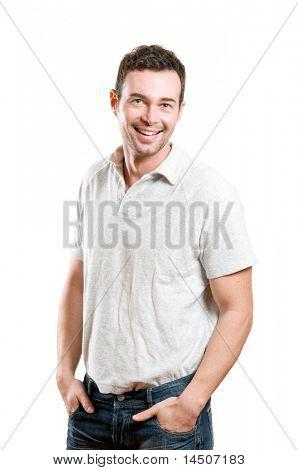 Glücklich Jüngling mit Freude Lächeln und Blick in die Kamera, die isoliert auf weißem Hintergrund