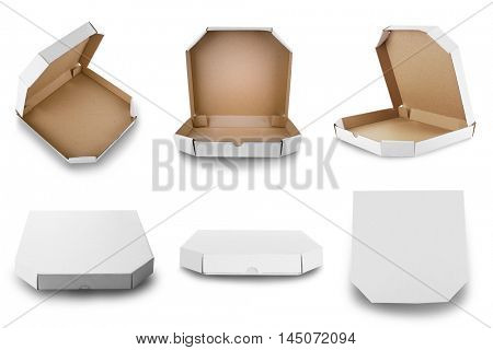 Pizza boxes, isolated on white