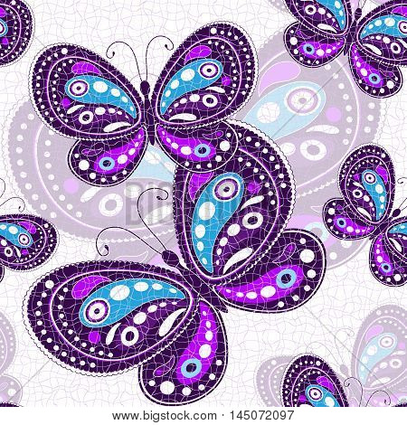 Seamless vivid pattern with violet butterflies (vector eps10)