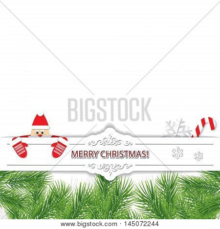 Christmas card with Santa Claus peeking out from behind a paper cut out banner. For print and web.