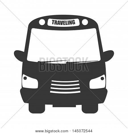 bus traveling transport vehicle auto urban public service silhouette vector illustration