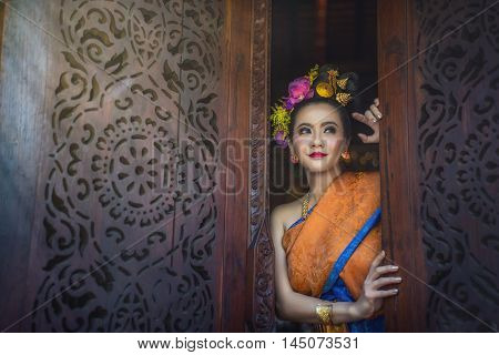 Beautiful girl Thai Lanna women in dress traditional costume identity culture of Thailand