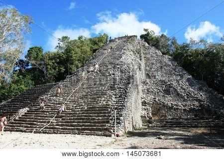 Stone Mayan Pyramid In Coba, Yucatan Peninsula, Mexico.