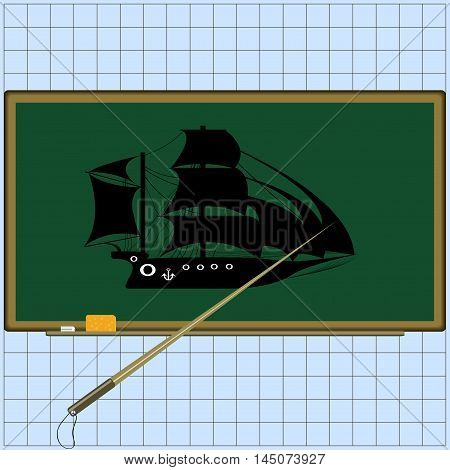 School board with accessories: sponge, pointer, chalk. Silhouette of a ship on the board. The study object