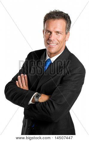 Senior Businessman Blick in die Kamera mit einem hellen Lächeln, isolated on white background