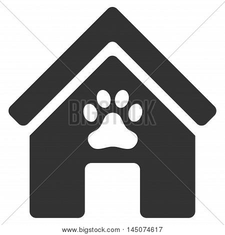 Doghouse icon. Glyph style is flat iconic symbol, gray color, white background.