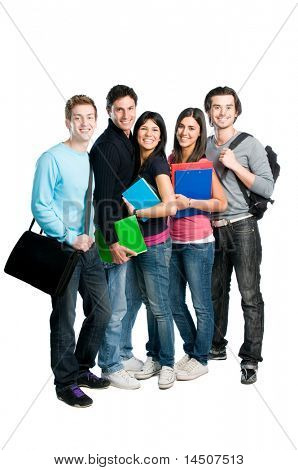 Happy group of young teenager students with books and bags standing full length isolated over white background.