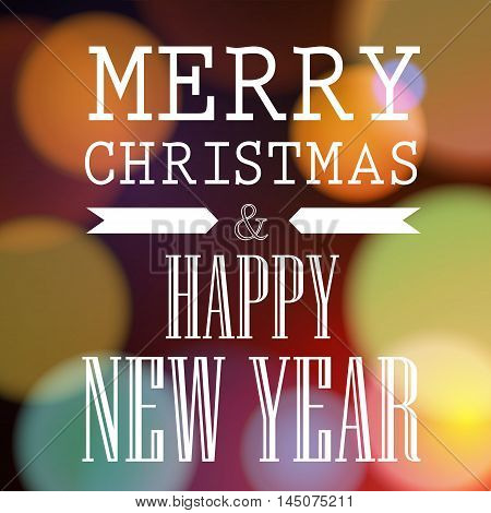 Merry Christmas and Happy New Year lettering. Festive inscription on abstract background with fuzzy light spots of round shape. Can be used for greeting card, poster, postcard, banner