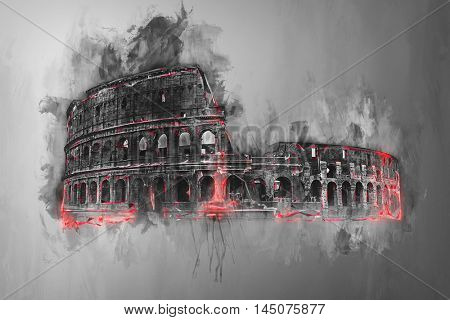 Fine art painting of the Colosseum, Rome, Italy in greyscale watercolor paint with colorful red accents or highlights to the exterior of the building and copy space on a graduated grey background